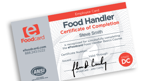 District of Columbia food handlers card